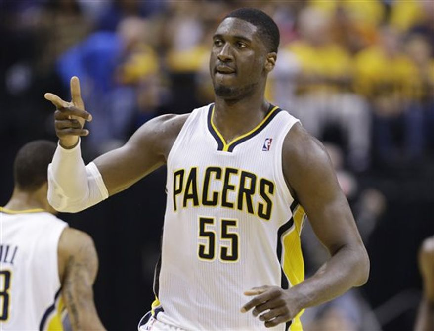 Indiana Pacers center Roy Hibbert reacts during the first half of Game 6 of the NBA Eastern Conference basketball finals against the Miami Heat in Indianapolis, Saturday, June 1, 2013. (AP Photo/Michael Conroy)