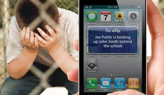 **FILE** With the new bully buster tool called uTip, students can quickly, conveniently and discretely text their school about bullying. Select officials receive the tips in seconds via text message or email. (PRNewsFoto/e2Campus)