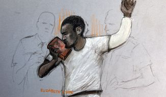Michael Adebolajo, a suspect in the killing of a British soldier, kisses the Quran as he appears at Westminster Magistrates Court in London on Monday, June 3, 2013, in a sketch by courtroom artist Elizabeth Cook. (AP Photo/ Elizabeth Cook, Press Association)