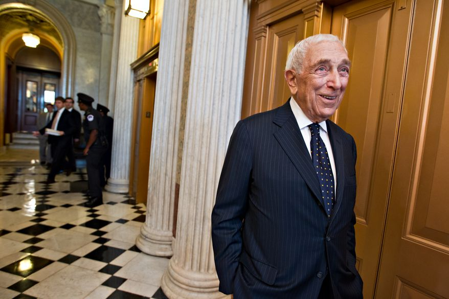 **FILE** Sen. Frank Lautenberg, New Jersey Democrat, smiles after the final votes before the Senate leaves for a five-week recess on Capitol Hill in Washington on Aug. 2, 2012. (Associated Press)