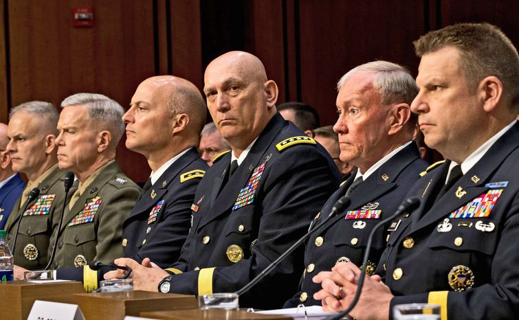 Testifying before the Senate Armed Services Committee on Tuesday about sexual assaults in the military are (from right): Legal counsel to the Chairman of the Joint Chiefs of Staff Brig. Gen. Richard C. Gross, Joint Chiefs Chairman Gen. Martin E. Dempsey, Army Chief of Staff Gen. Raymond T. Odierno, Judge Advocate General of the Army Lt. Gen. Dana K. Chipman, Commandant of the Marine Corps Gen. James F. Amos, and Staff Judge Advocate to the Marine Corps Commandant Maj. Gen. Vaughn A. Ary.
