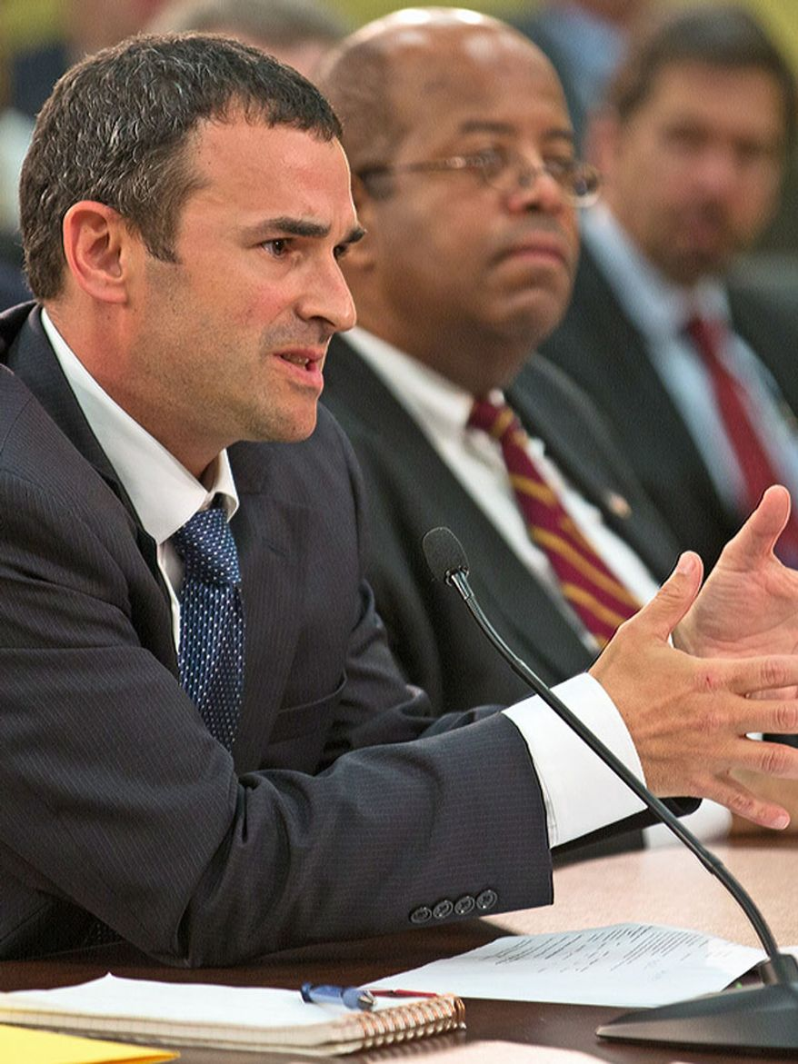 Danny Werfel (left), the acting commissioner of the Internal Revenue Service, and J. Russell George, Treasury Inspector General, appear before the House Appropriations Oversight Committee on the IRS in Washington on June 3, 2013. (Andrew S Geraci/The Washington Times)
