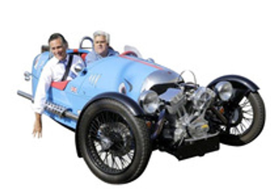 """Mitt Romney, here with Jay Leno, hosts """"Experts and Enthusiasts"""" with politicians, tycoons, investors and fancy """"thought leaders."""" (Mitt Romney photograph)"""