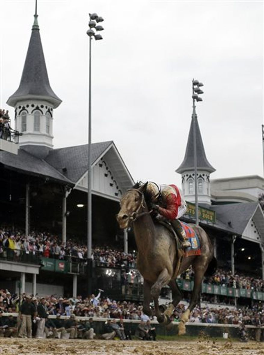 In this May 4, 2013, file photo, Orb, ridden by jockey Joel Rosario, crosses the finish line to win the 139th Kentucky Derby horse race at Churchill Downs in Louisville, Ky. Even without a horse going for racing immortality with a Triple Crown, there's plenty of history in the making at next Saturday's Belmont Stakes, starting with a rematch between Derby winner Orb and Preakness winner Oxbow. (AP Photo/David J. Phillip, File)