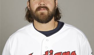 "FILE - This 2013 file photo shows Cleveland Indians relief pitcher Chris Perez during the teams photo day in Goodyear, Ariz. The Indians say they are looking into ""a situation"" with closer Perez that occurred Tuesday in the Cleveland suburb of Rocky River. (AP Photo/Paul Sancya, File)"