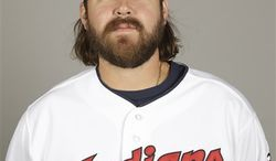 """FILE - This 2013 file photo shows Cleveland Indians relief pitcher Chris Perez during the teams photo day in Goodyear, Ariz. The Indians say they are looking into """"a situation"""" with closer Perez that occurred Tuesday in the Cleveland suburb of Rocky River. (AP Photo/Paul Sancya, File)"""