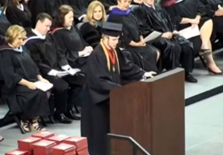 Roy Costner IV of Liberty High School recites the Lord's prayer during his valedictorian speech in South Carolina. (Image: YouTube)