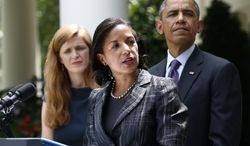 ** FILE ** President Obama listens as then-U.N. Ambassador Susan Rice, his choice to be his next National Security Adviser, speaks in the Rose Garden at the White House in Washington on June 5, 2013, where the president made the announcement. Samantha Power, his nominee to replace Rice, is at left. (Associated Press)