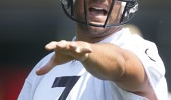 Pittsburgh Steelers quarterback Ben Roethlisberger (7)during the NFL football practice on Thursday, May 30, 2013 in Pittsburgh. (AP Photo/Keith Srakocic)