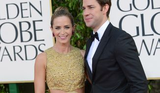 Husband-and-wife actors John Krasinski and Emily Blunt attend the 70th annual Golden Globe Awards in Beverly Hills, Calif., on Sunday, Jan. 13, 2013. (Jordan Strauss/Invision/AP)