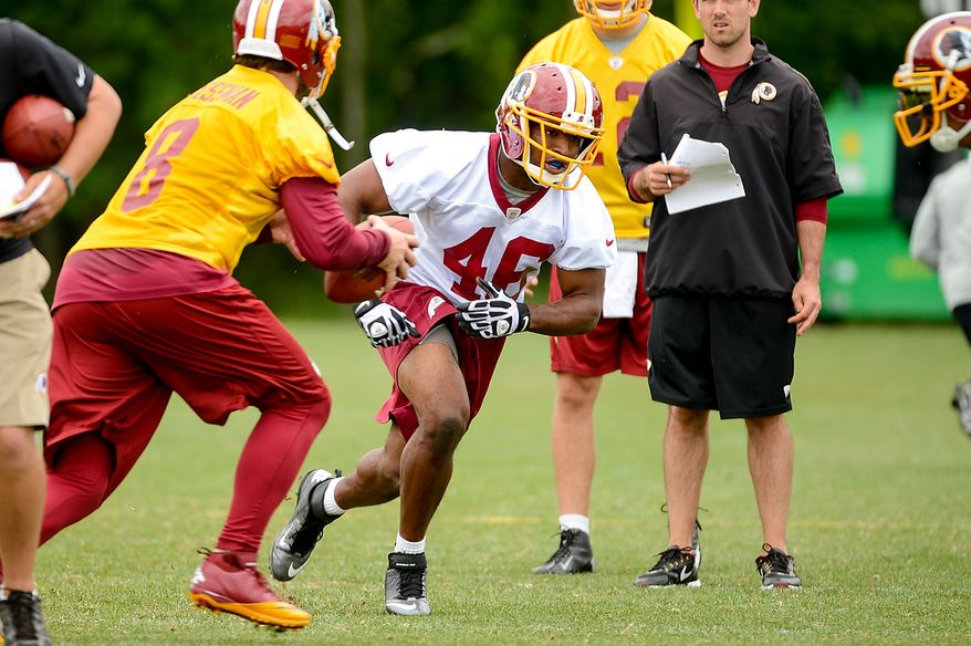Washington Redskins running back Alfred Morris (46) runs a route from the backfield during a NFL football organized team activity at Redskins Park, Ashburn, Va., Thursday, June 6, 2013. (Andrew Harnik/The Washington Times)