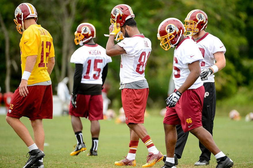 Washington Redskins tight end Niles Paul (84), center, during a NFL football organized team activity at Redskins Park, Ashburn, Va., Thursday, June 6, 2013. (Andrew Harnik/The Washington Times)