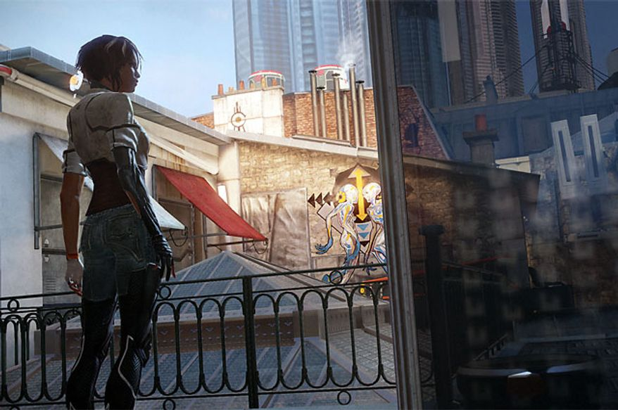 Memory hunter Nilin admires the sites of Neo-Paris in the video game Remember Me.
