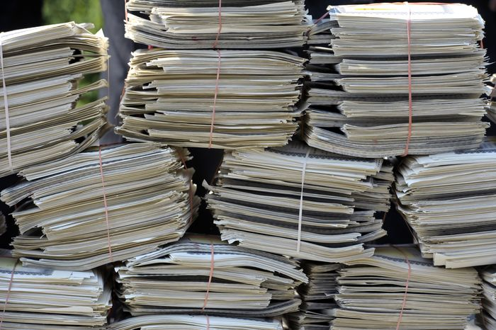 "**FILE** A portion of approximately 33,500 signed ""Defund ObamaCare Petitions"" gathered by the Association of Mature American Citizens are displayed on Capitol Hill in Washington on June 28, 2012, during the GOP Doctors Caucus news conference in response to the Supreme Court health care ruling. (Associated Press)"