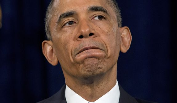 ** FILE ** President Obama pauses while speaking in San Jose, Calif., on Friday, June 7, 2013. The president defended his government's secret surveillance, saying Congress repeatedly has authorized the collection of America's phone records and Internet use. (AP Photo/Evan Vucci)