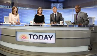 "This April 18, 2013, photo released by NBC shows co-hosts, from left, Natalie Morales, Savannah Guthrie, Matt Lauer and Al Roker on the set of NBC News' ""Today"" show in New York. Police say an emotionally disturbed man is in custody after he tried to slit his wrists outside NBC's ""Today"" show on Thursday, June 6. (AP Photo/NBC, Peter Kramer)"