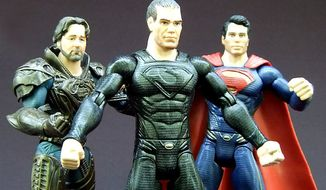 From left; Jor-El, General Zod and Superman from Mattel's Man of Steel: Movie Masters collection. (Photograph by Joseph Szadkowski / The Washington Times)