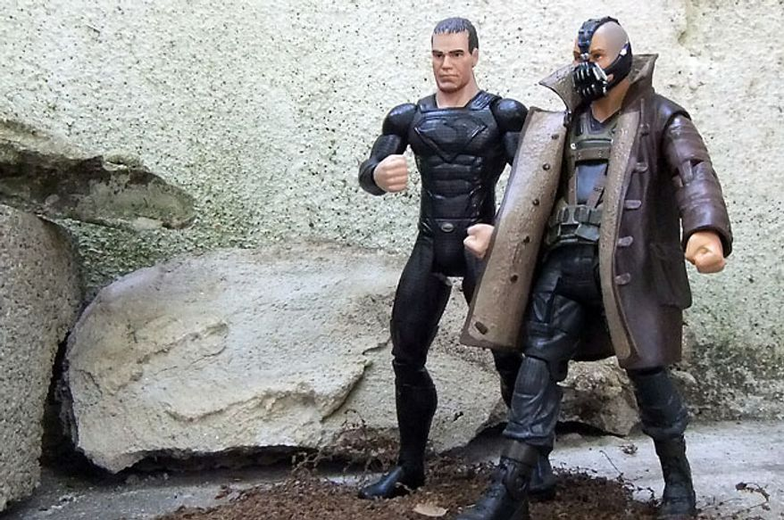 Mattel's Movie Masters villains General Zod and Bane talk strategy. (Photograph by Joseph Szadkowski / The Washington Times)