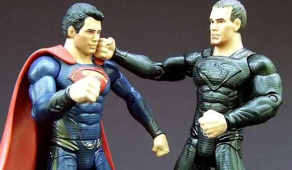 Mattel's Man of Steel: Movie Masters' Superman takes a right cross from General Zod. (Photograph by Joseph Szadkowski / The Washington Times)
