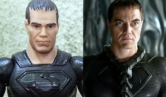 "Mattel's Man of Steel: Movie Masters' General Zod compared to actor Michael Shannon as Zod in the movie ""Man of Steel."""
