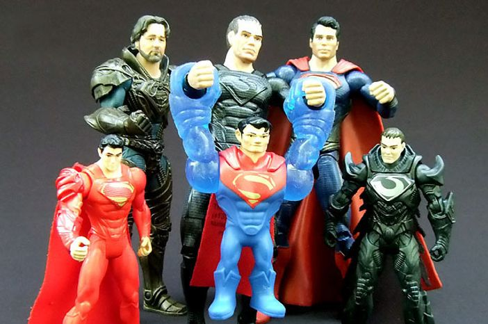 From Left; Wrecking Ball Superman, Jor-El, General Zod, Flight Speeders Superman, Superman and Shadow Assault Zod, all part of Mattel's Man of Steel action figure collections. (Photo by Joseph Szadkowski / The Washington Times)