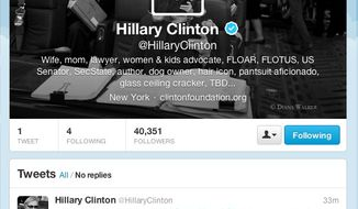Hillary Clinton's new Twitter feed