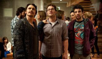 "From left, James Franco, Seth Rogen and Jay Baruchel in a scene from ""This Is The End."" (AP Photo/Columbia Pictures - Sony, Suzanne Hanover)"
