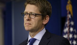 White House spokesman Jay Carney listens during his daily news briefing at the White House in Washington on June 11, 2013. (Associated Press)