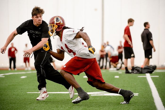 Wide receiver Donte Stallworth runs a route while trying out for the Washington Redskins during mini camp at Redskins Park, Ashburn, Md., Tuesday, June 11, 2013. (Andrew Harnik/The Washington Times)