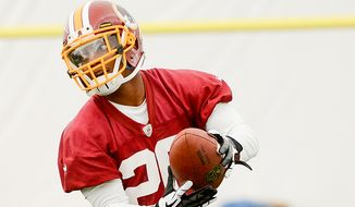 Washington Redskins cornerback Richard Crawford makes a catch during mini camp at Redskins Park, Ashburn, Md., Tuesday, June 11, 2013. (Andrew Harnik/The Washington Times)