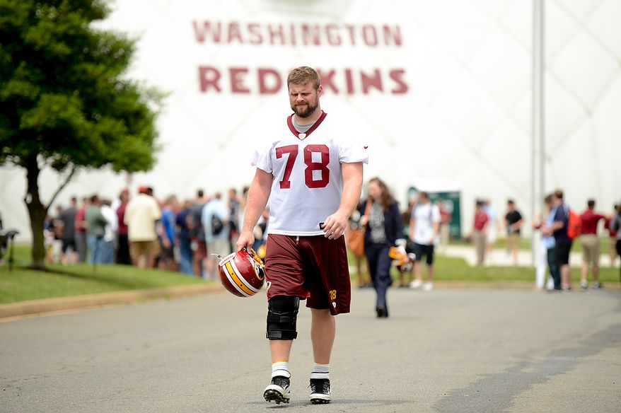 Washington Redskins guard Kory Lichtensteiger (78) heads to the locker room after practice during mini camp at Redskins Park, Ashburn, Md., Tuesday, June 11, 2013. (Andrew Harnik/The Washington Times)