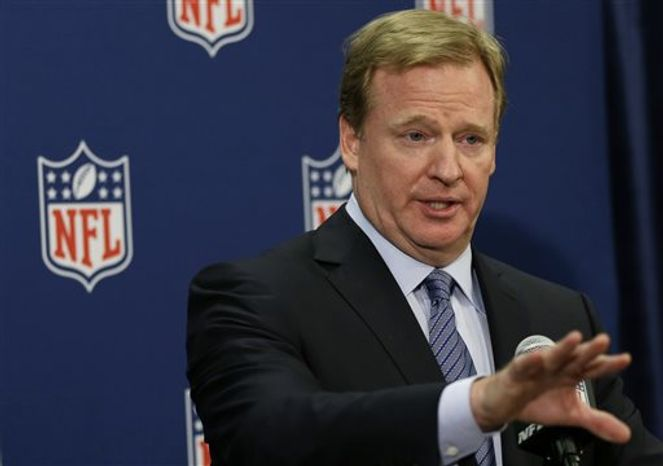 NFL Commissioner Roger Goodell speaks during a news conference at the NFL football spring meetings