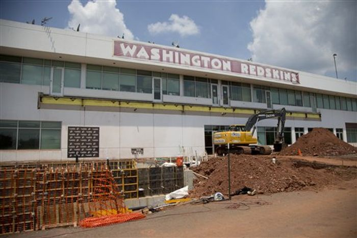 Washington Redskins' facility is seen under construction during a NFL football minicamp at Redskins Park, Wednesday, June 12, 2013, in Ashburn, Va. (AP Photo/Carolyn Kaster)