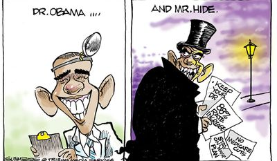 Dr. Obama and Mr. Hyde (Illustration by Dana Summers of the Tribune Media Services)
