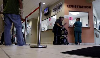 **FILE** Patients wait in line at Nuestra Clinica Del Valle in San Juan, Texas, on Sept. 6, 2012. (Associated Press)
