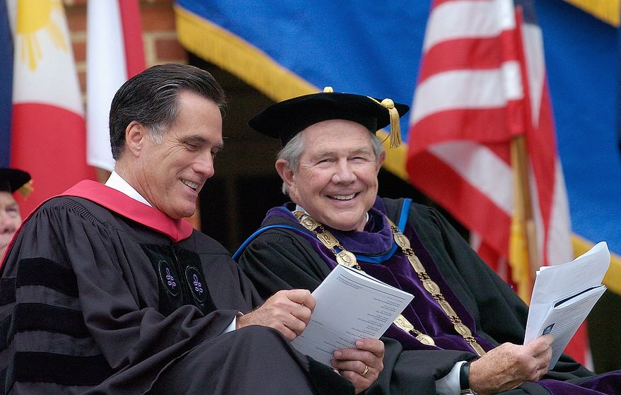 Pat Robertson, right, the founder of Christian Broadcasting Network and the chancellor of Regent University, sits with Republican presidential hopeful Mitt Romney, the former governor of Massachusetts, before Romney delivers the commencement address to the 2007 graduating class of Regent University in Virginia Beach, Va., Saturday, May 5, 2007. (AP Photo/Gary C. Knapp)