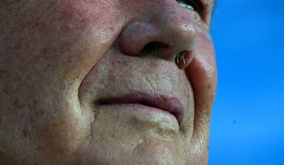 American television personality and evangelical Christian leader Pat Robertson,  pictured after a speech to a crowd of mostly evangelical Christians from various nations on a pilgrimage to Israel, during an event of the International Christian Embassy in Jerusalem, Sunday, Oct. 3, 2004. (AP Photo/Brennan Linsley)