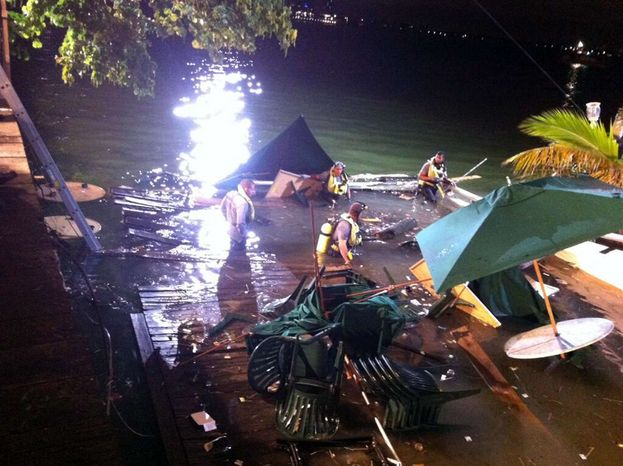 In this photo provided by WSVN-TV, divers search the water after a deck collapse at Shuckers Bar & Grill in Miami Thursday night, June 13, 2013. The deck collapsed during the NBA Finals on Thursday night, sending dozens of patrons into the shallow waters of Biscayne Bay. Three people were critically injured. (AP Photo/WSVN-TV, Tom Tuckwell)