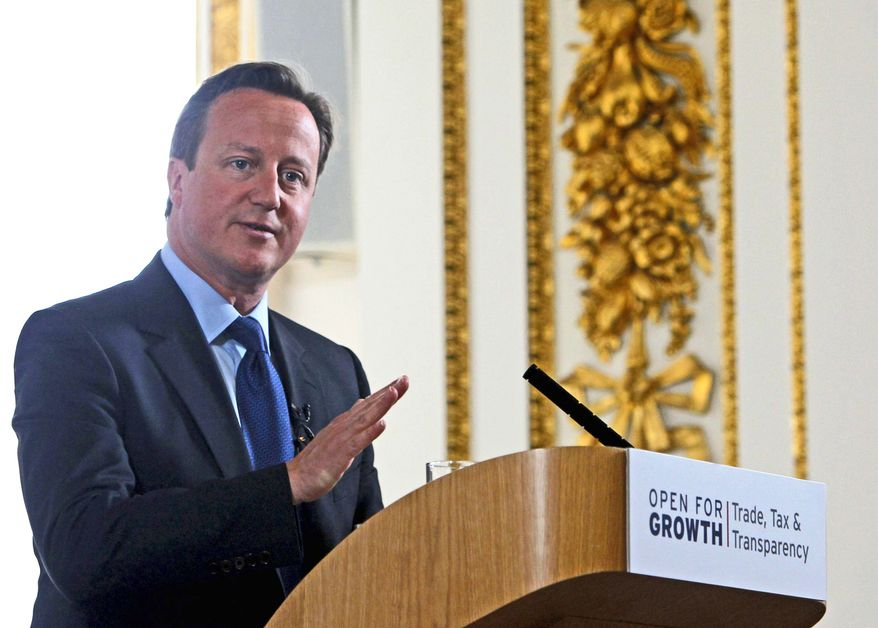 """""""Trade is key to economic growth and job creation,"""" British Prime Minister David Cameron says of the focus of this year's Group of Eight summit. Tax compliance and transparency issues also will discussed during the meetings in Northern Ireland. (Associated Press)"""