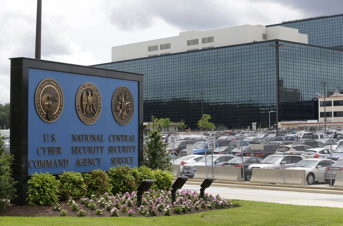 A sign identifies the National Security Administration campus at Fort Meade, Md., on Thursday, June 6, 2013. (AP Photo/Patrick Semansky)