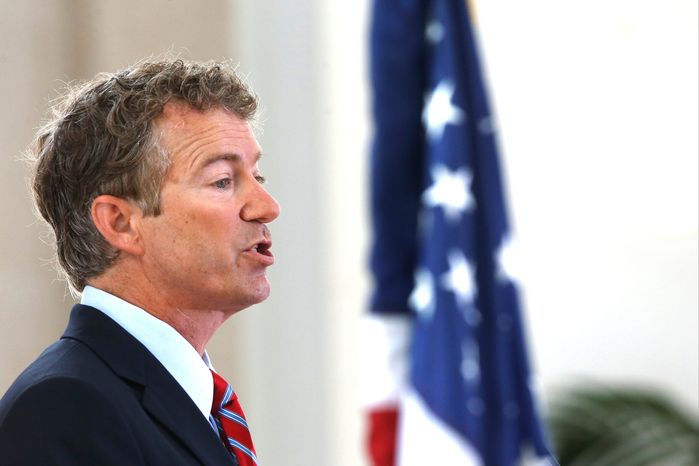 """It will be harder to be a friend of Israel if we are out of money,"" Sen. Rand Paul, Kentucky Republican, said in Israel while stating his belief that the U.S. cannot keep borrowing money so it can keep writing checks to other countries. (Associated Press)"