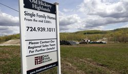 Construction is underway on the infrastructure of a multiacre housing development in Zelienople, Pa., on Monday, May 6, 2013. For the first time in seven years, most U.S. homebuilders are optimistic about home sales, a sign that construction could help drive stronger economic growth in coming months, according to reports on Monday, June 17, 2013. (AP Photo/Keith Srakocic)
