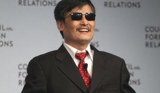 ** FILE ** In this May 31, 2012, file photo, Chen Guangcheng speaks at the Council on Foreign Relations in New York. Chen, a Chinese dissident who was allowed to travel to the U.S. after escaping from house arrest, said in a statement Monday, June 17, 2013, that New York University is forcing him and his family to leave at the end of this month because of pressure from the Chinese government. NYU rejected Chen's allegations about Beijing's influence on his fellowship at the university. (AP Photo/Seth Wenig, File)