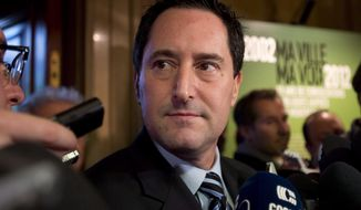 ** FILE ** Michael Applebaum speaks to reporters in Montreal on Friday, Nov. 16, 2012, after he was elected interim mayor of Montreal. (AP Photo/Graham Hughes, Canadian Press)