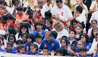 "**FILE** Some of the more than 500 Texas fifth- and sixth-grade students are shown during a red-ribbon rally against drug use at the Capitol in Austin on Oct. 19, 2000. Celebrating national Drug Prevention Month, the event also honors the memory of Drug Enforcement Administration agent Enrique ""Kiki"" Camarena, who was murdered by drug dealers in Mexico in 1985. (Associated Press)"