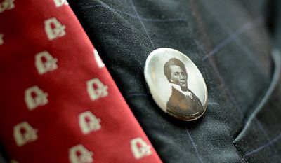 Historian David Blight wears a pin depicting Frederick Douglass at a congressional ceremony to commemorate the dedication and unveiling of a statue of Frederick Douglass in Emancipation Hall of the the United States Visitors Center, Washington, D.C., Wednesday, June 19, 2013. (Andrew Harnik/The Washington Times)