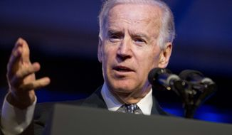 **FILE** Vice President Joseph R. Biden speaks at the 84th annual League of United Latin American Citizens convention in Las Vegas on June 20, 2013. (Associated Press)