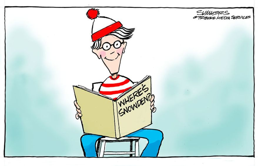 Where's Snowden? (Illustration by Dana Summers of the Tribune Media Services)