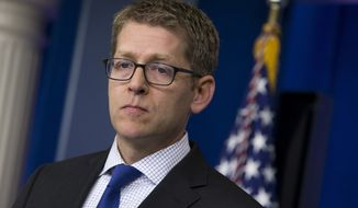 White House press secretary Jay Carney said on Monday, June 24, 2013, at the White House in Washington that the U.S. assumes Edward Snowden is now in Russia and that the White House expects Russian authorities to look at all the options available to them to expel Mr. Snowden to face charges in the U.S. for releasing secret surveillance information. (AP Photo/Evan Vucci)