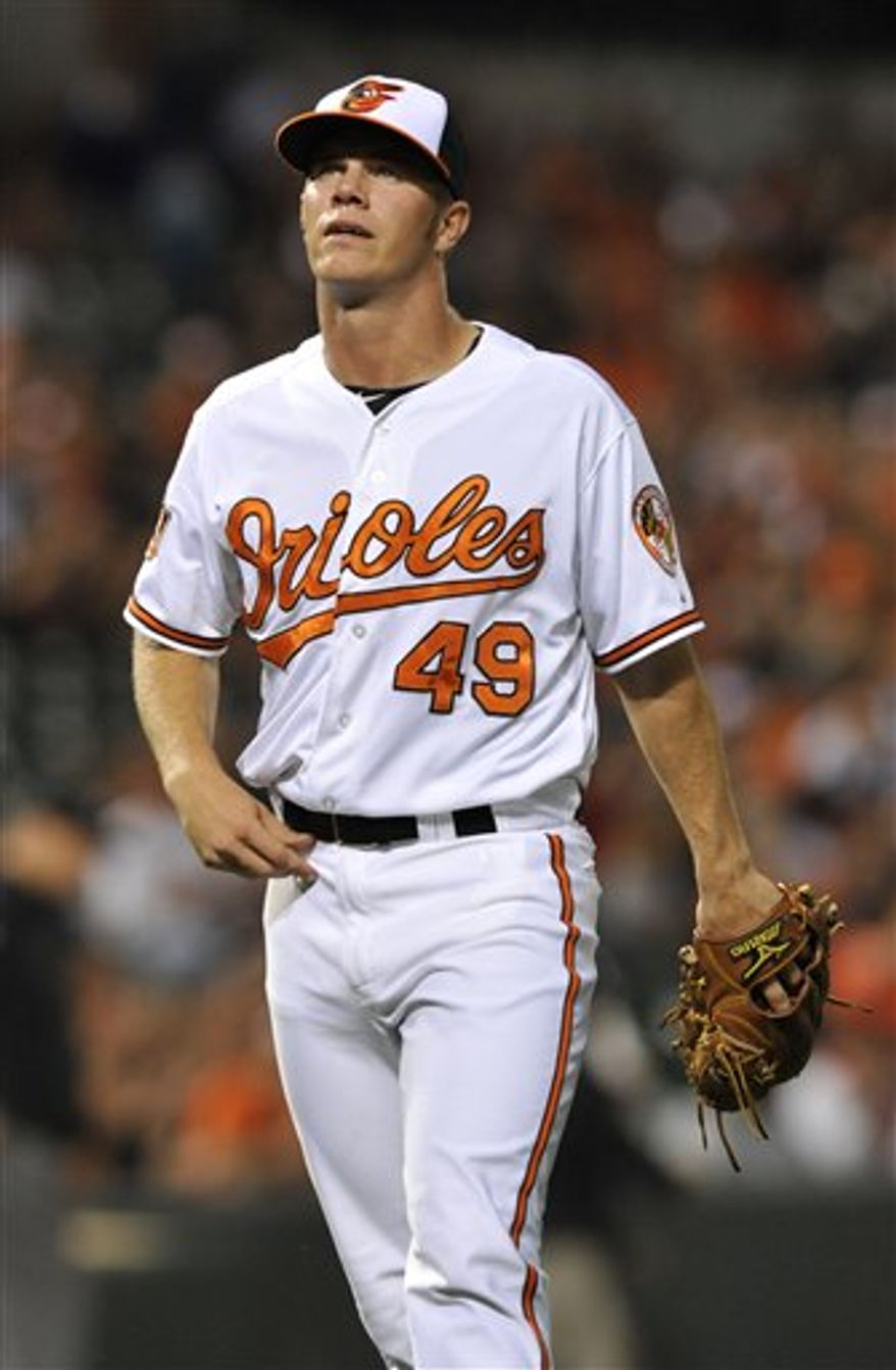 **FILE** Baltimore Orioles' Dylan Bundy walks to the dugout after pitching to the Toronto Blue Jays during the ninth inning of a baseball game Tuesday, Sept. 25, 2012 in Baltimore. The Blue Jays won 4-0. (AP Photo/Gail Burton)
